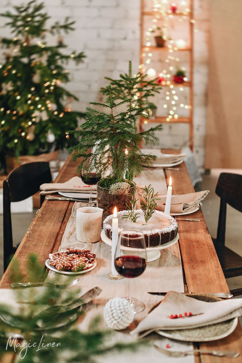Christmas Tablescape with Linen