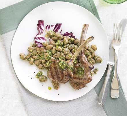 Lamb chops with pesto borlotti beans recipe recipes bbc good lamb chops with pesto borlotti beans recipe recipes bbc good food forumfinder Image collections