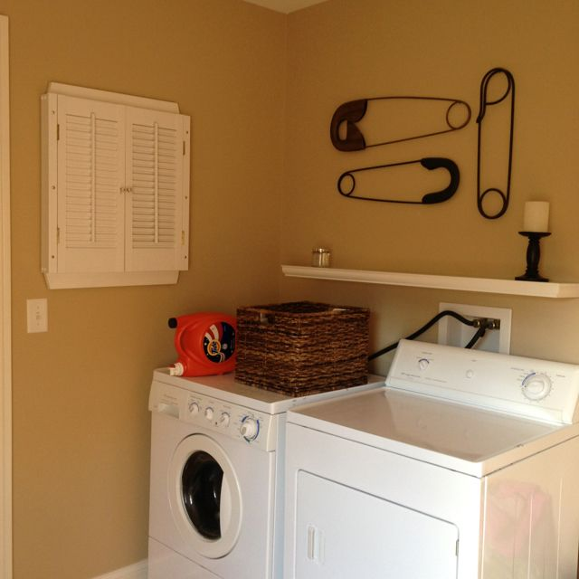 Laundry Room. White shutter made to cover electrical box.   For ...