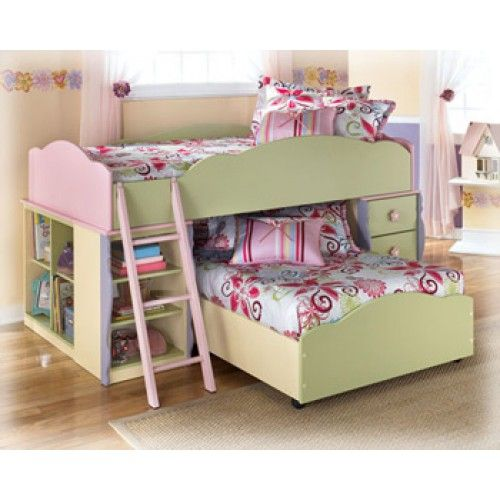 lowered bunk bed | Doll House - Loft Bed With Lower Twin Bed | Direct Value Furniture