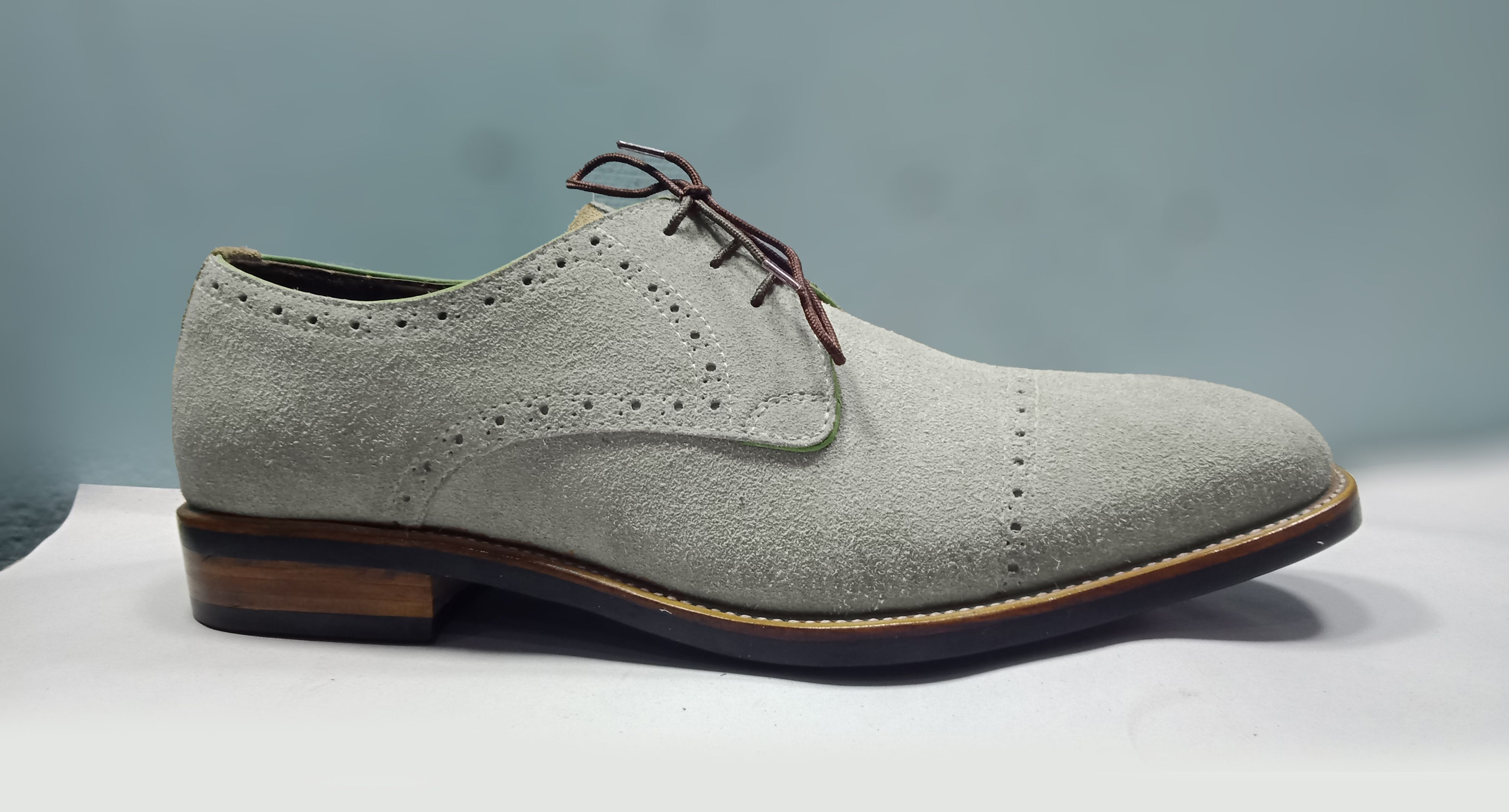 Handmade Gray Suede Cap Toe Lace Up Shoes Suede Caps Lace Up Shoes Fashion Shoes