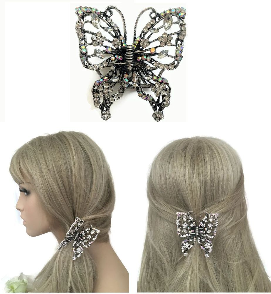 Fashion Glitter Diamante Diamond Women Lady Hair Clip Claw Grip Butterfly