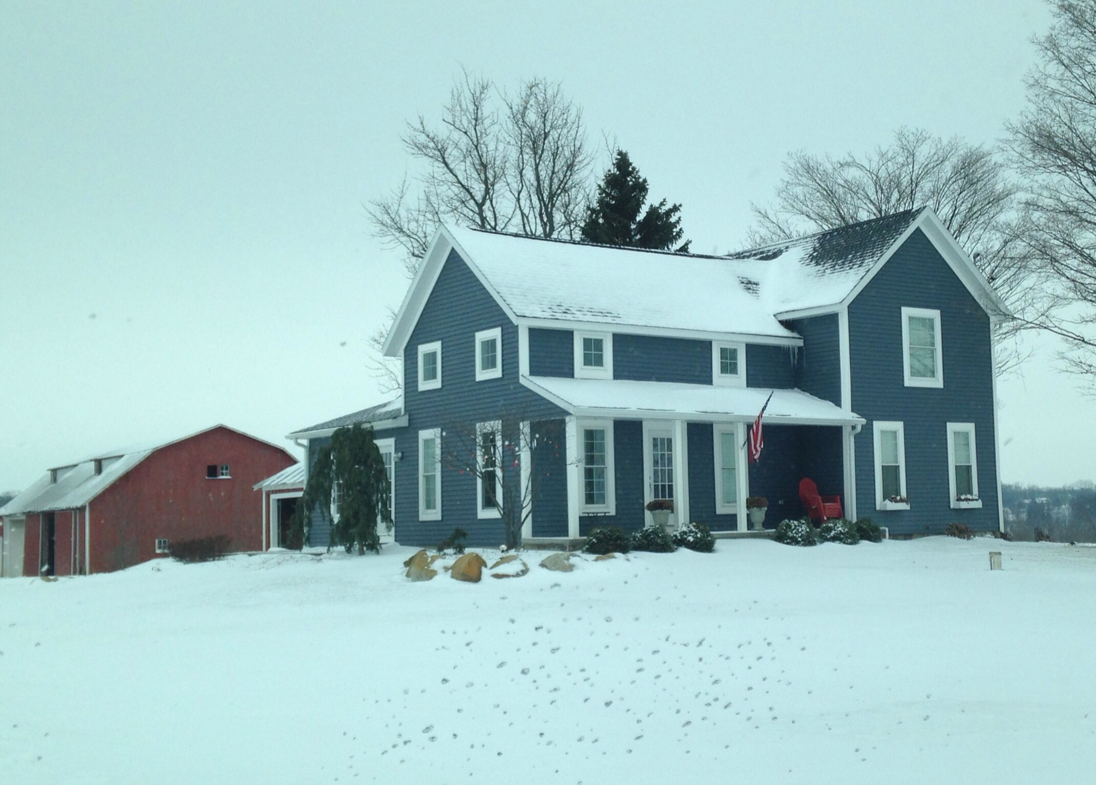 Potential Color Scheme Smoke Blue Farmhouse With Thick