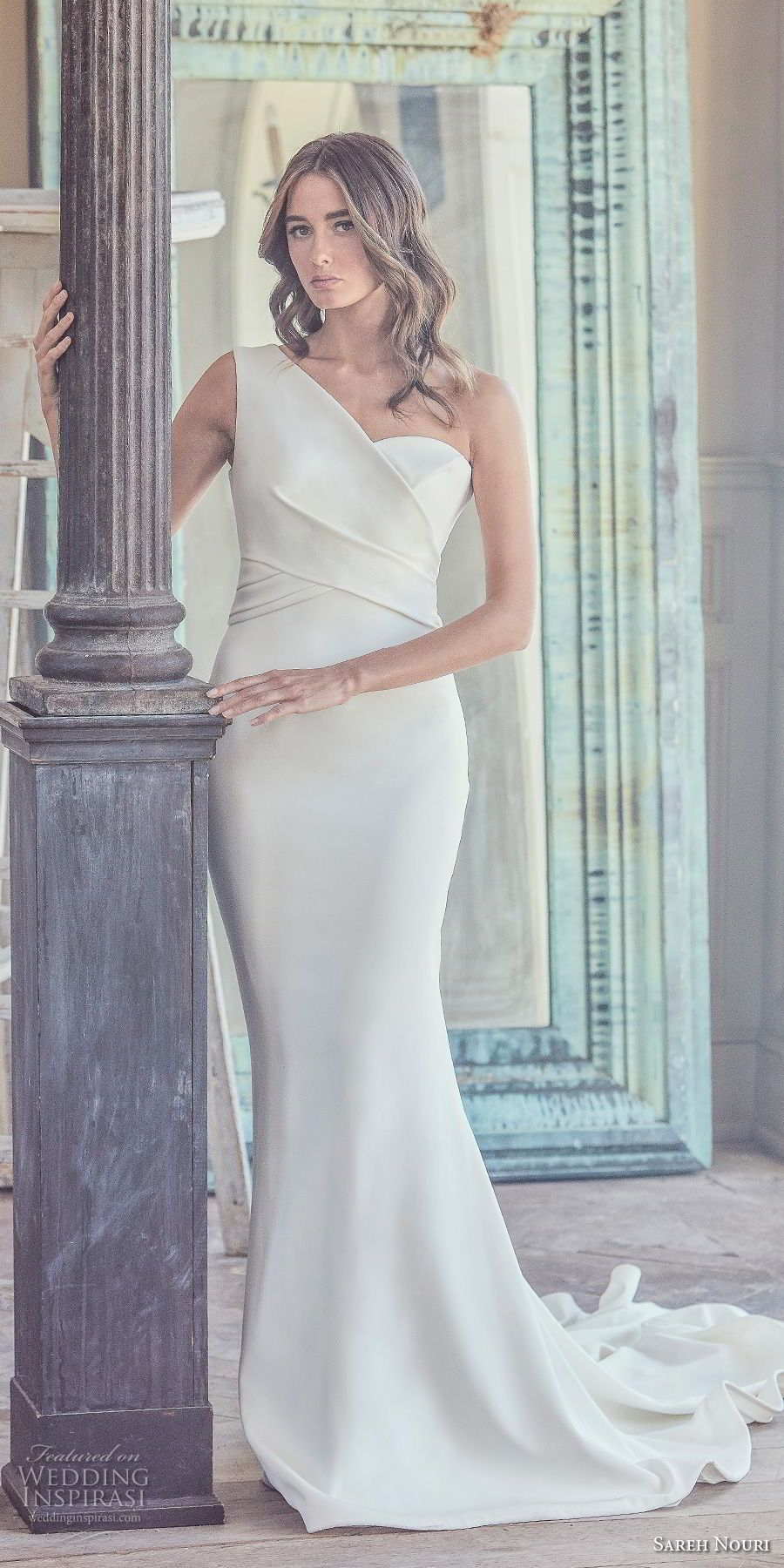 12bee61696f67 sareh nouri spring 2019 bridal sleeveless one shoulder wrap over bodice  simple clean elegant modern fit and flare wedding dress chapel train (9) mv  -- Sareh ...