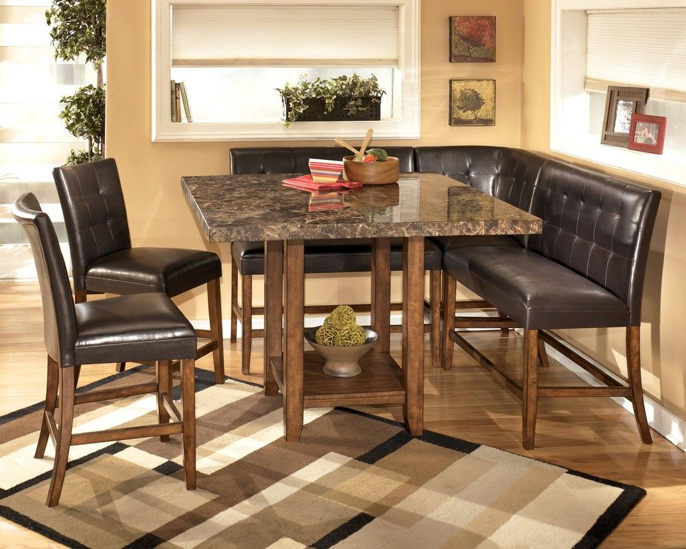 Elegant kitchen with fabulous corner nook kitchen table faux granite top square kitchen table and dark brown leather corner bench seating