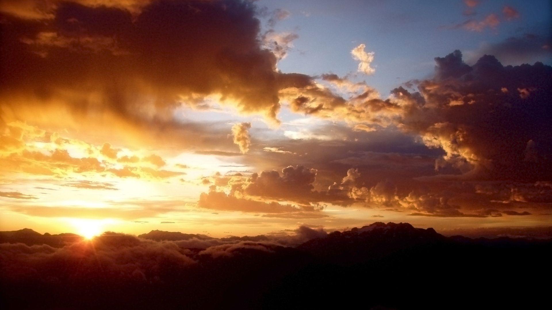 Download Wallpaper 1920x1080 Clouds, Sun, Sunset, Colors