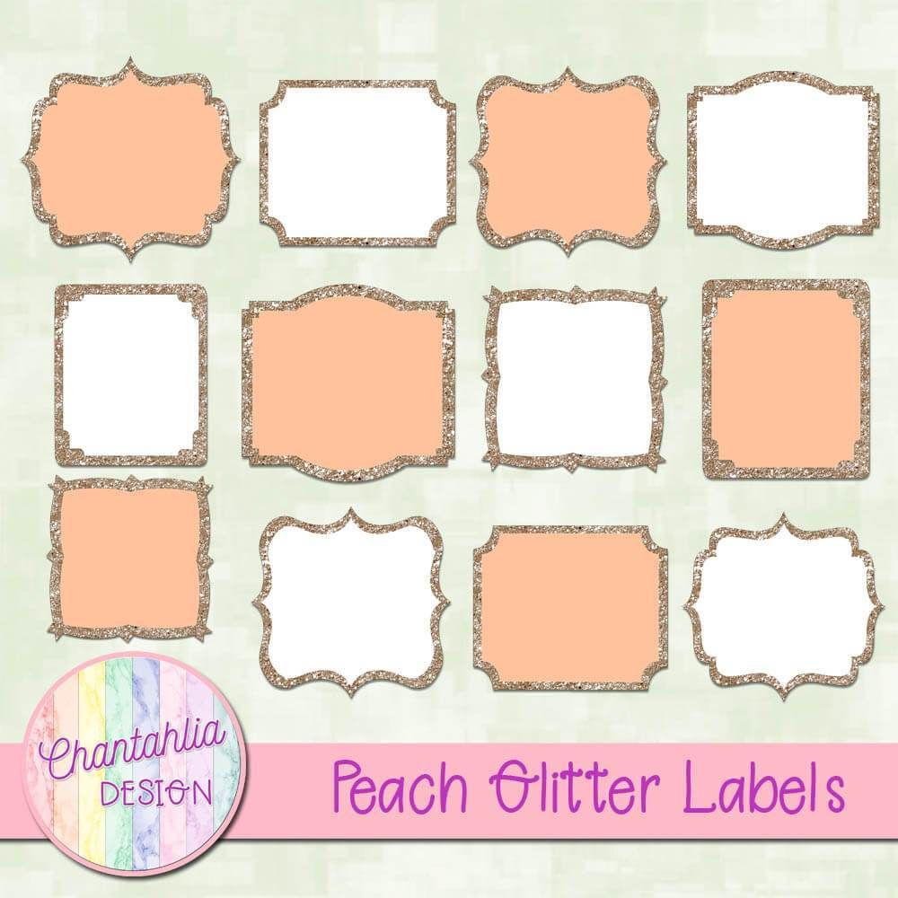 Free Digital Labels In A Peach Glitter Style. Use Them To