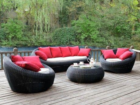 Salon De Jardin Whiteheaven En Resine Tressee Anthracite Canape