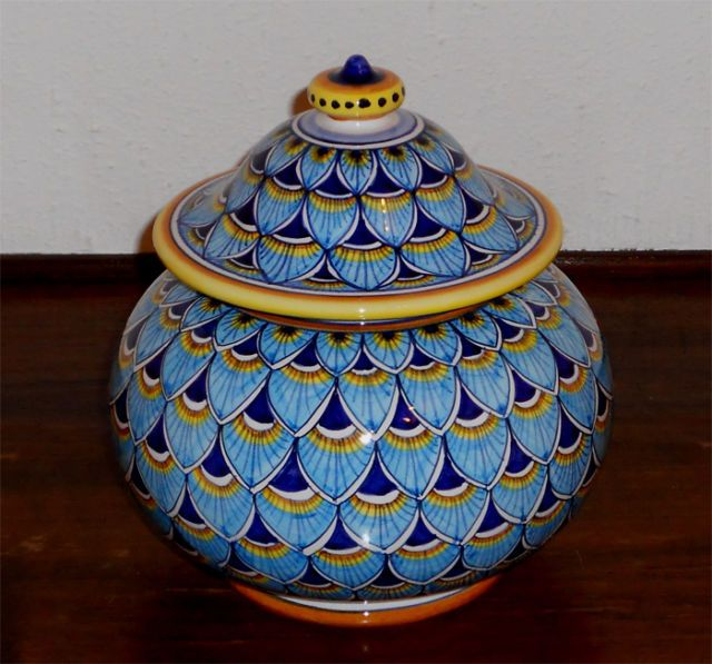 Deruta pottery GEOMETRICO-PEACOCK BLUE  BISCOTTI JAR