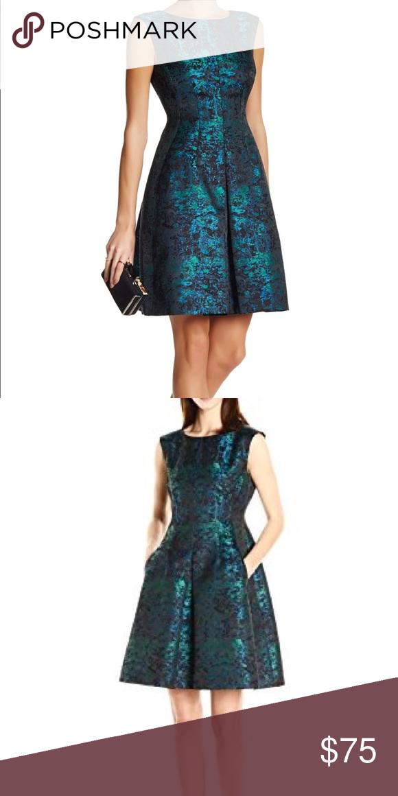 Nwt Anne Klein Jacquard Metallic Fit Amp Flare Dress Nwt