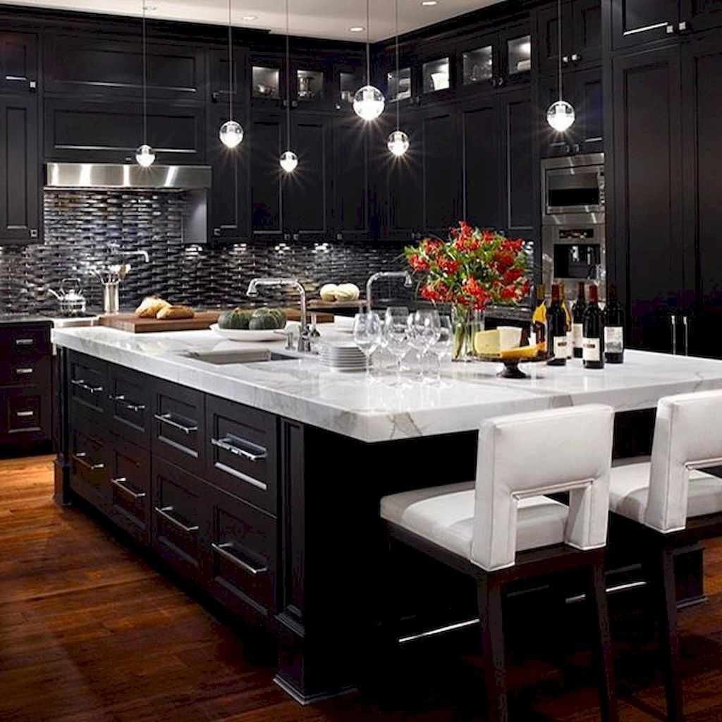 Kitchens With Black Appliances And Oak Cabinets Awesome: Awesome Black And White Kitchen Floor Tiles