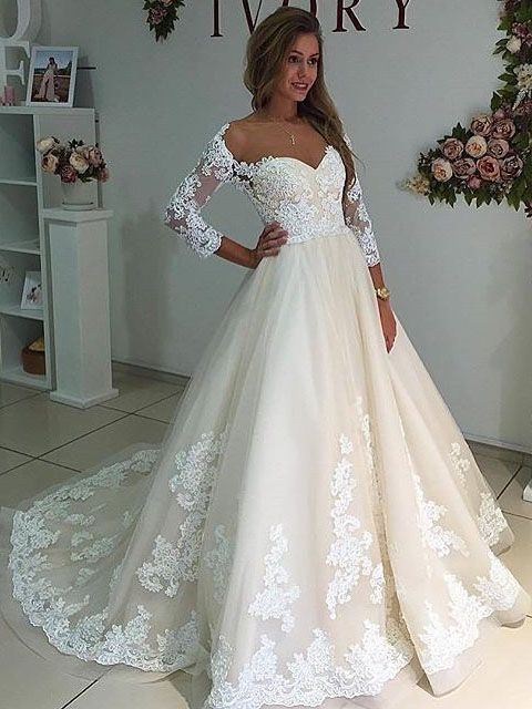 Unique A-line Long Sleeves White Lace Long Wedding Dress ...