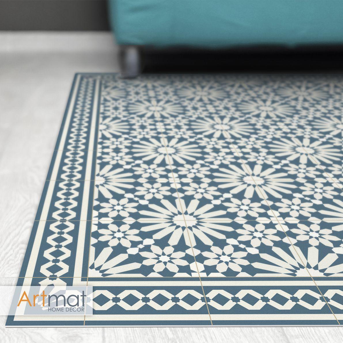 Vinyl Area Rug With Moroccan Tiles Design In Blue And Beige Etsy Vinyl Floor Mat Vinyl Rug Rugs