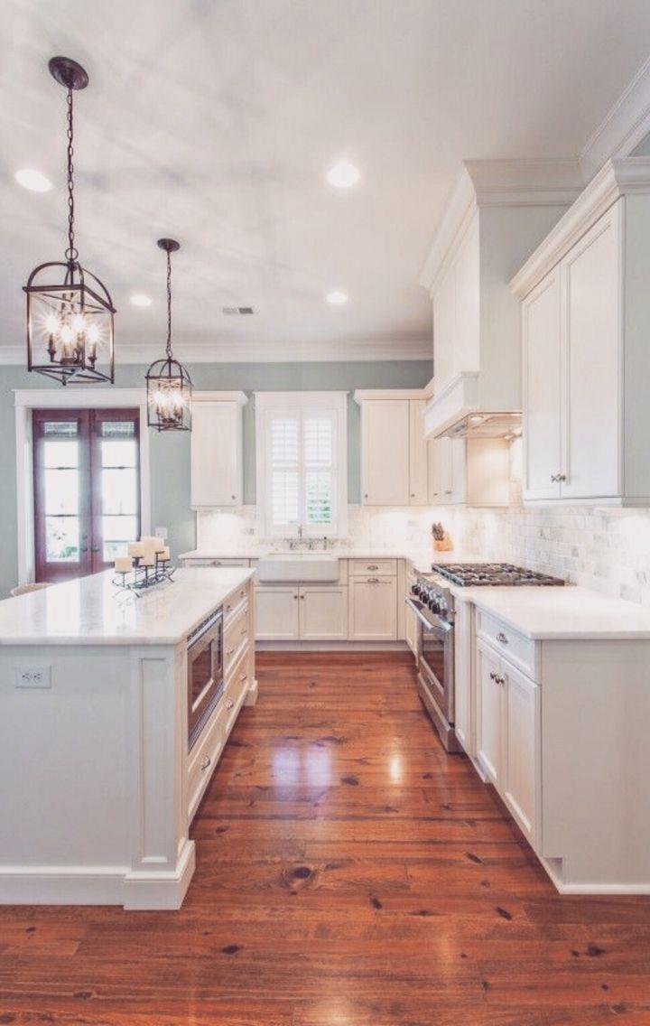 Pale Blue Walls Natural White Tile Backslplash Rustic Floors Off Cabinets