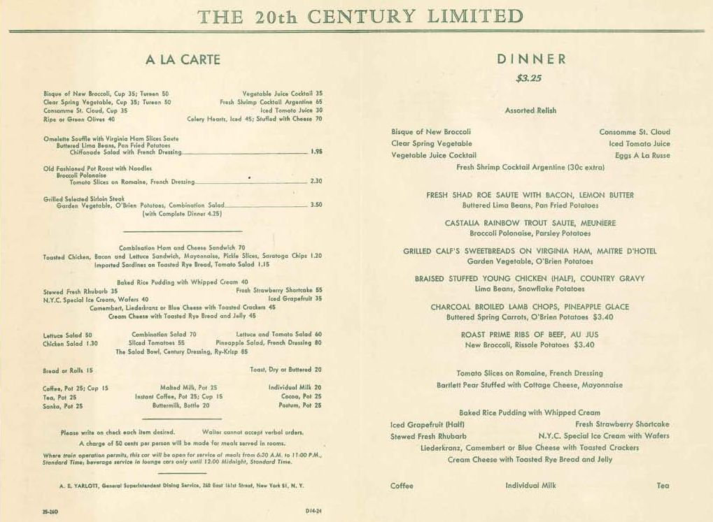 20th-Century-Limited Menu 1949 Railroad Dining through the Ages - dinner menu