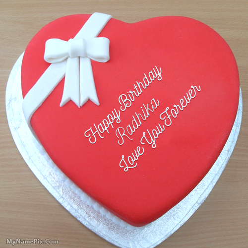 The Name Radhika Is Generated On Heart Birthday Cake For Lover