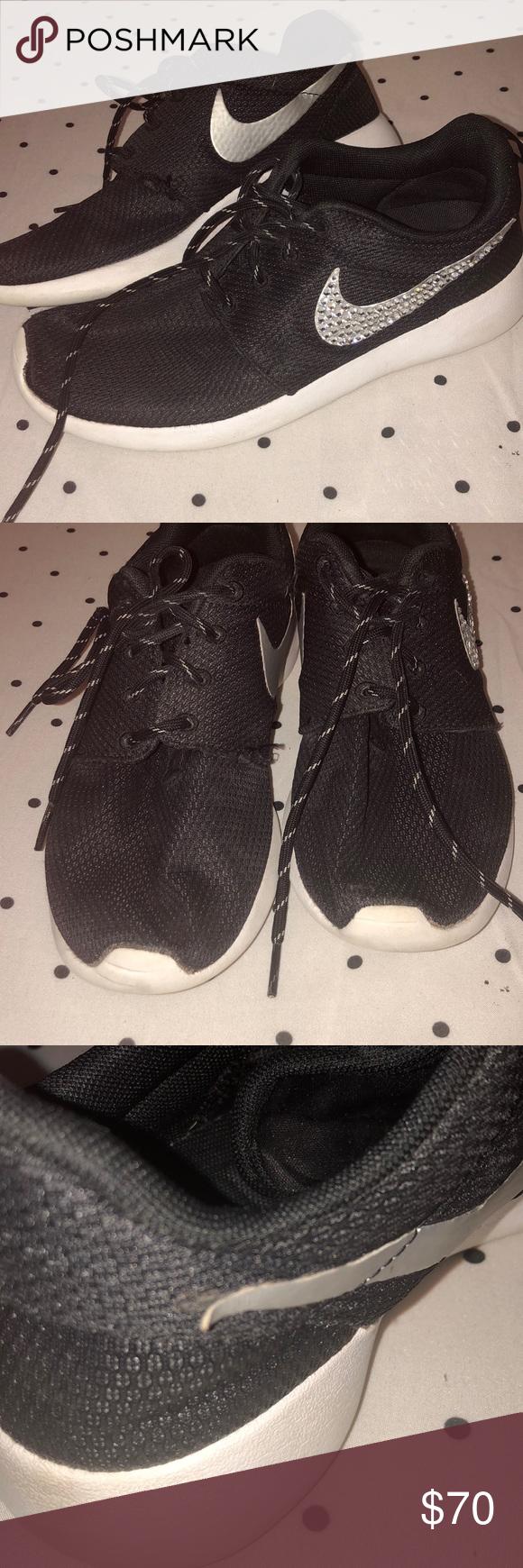Rhinestone Nike Roshe Black Nike Roshe with Rhinestone Nike Logo on Sides -  Size 6 - 47f9fb6222d7