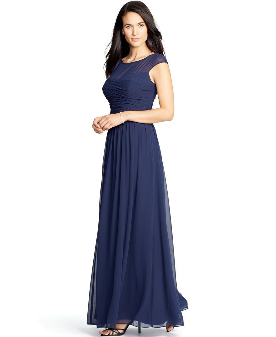 Lauren ralph lauren ruched illusion gown julie this comes in white