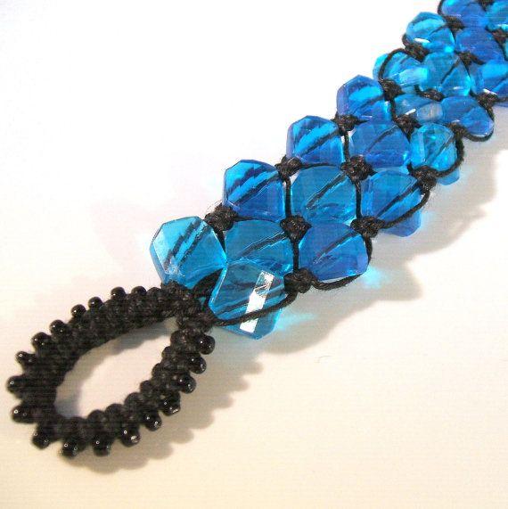 Micro macrame bracelet with bright blue vintage lucite beads. $55.00, via Etsy.
