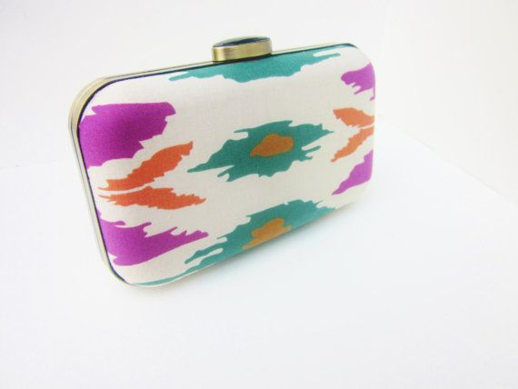 boho ikat clutch purse boho minaudiere boho by VincentVdesigns, $54.00