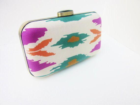 boho ikat clutch purse boho minaudiere boho by VincentVdesigns, $54.00