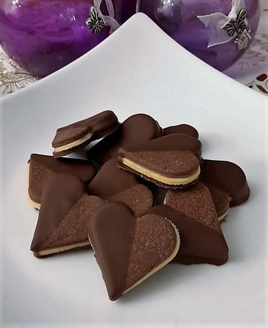 Čokoládové srdiečka s marcipánovou plnkou - Recept #czechrecipes
