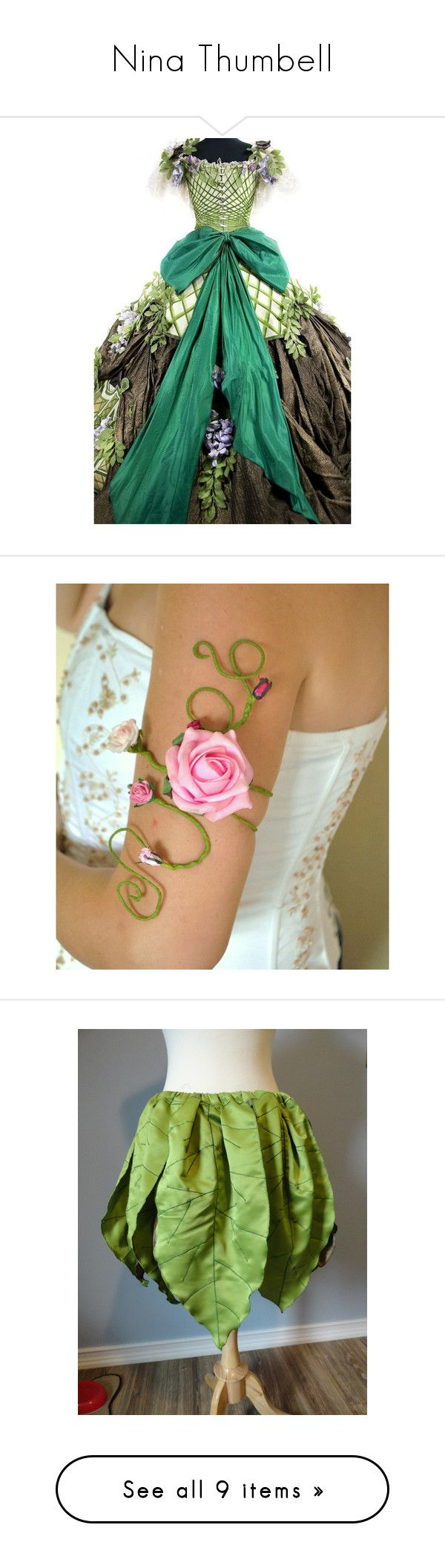 """""""Nina Thumbell"""" by wicked-elsa ❤ liked on Polyvore featuring jewelry, bracelets, pink bangles, pink prom jewelry, green prom jewelry, arm cuff jewelry, rose jewelry, costumes, rose costume and queen halloween costume"""