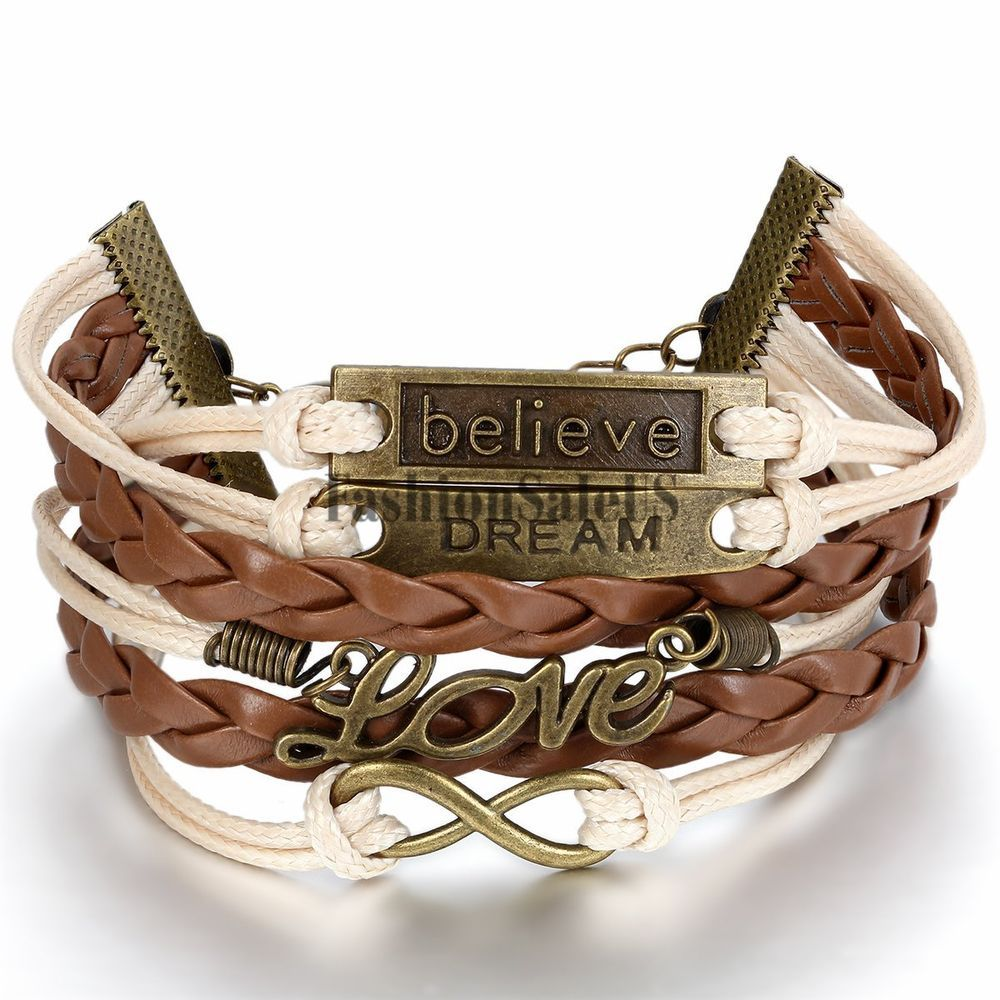Womens Vintage Element Multilayer Wristband Braided Leather Bracelet Bangle Cuff #Unbranded #Bangle
