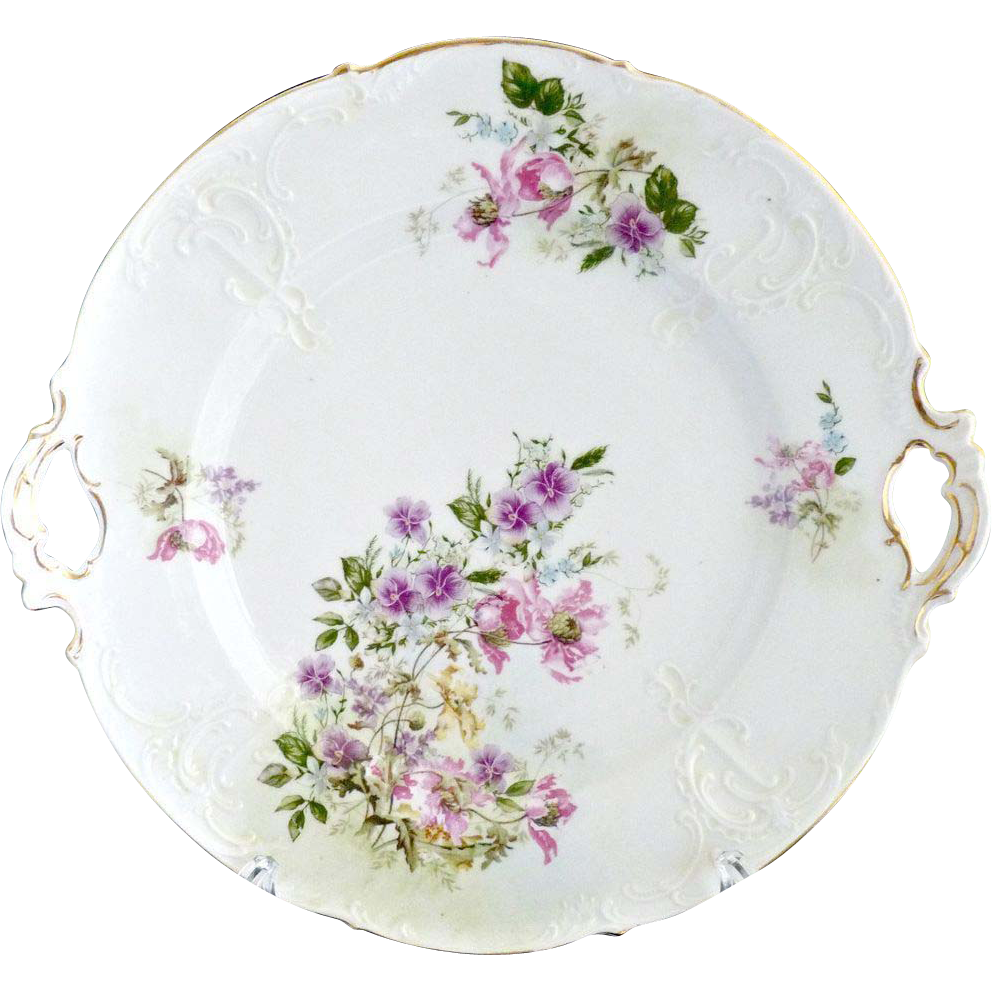 Antique cake plate German porcelain Krister c. 1880s ...