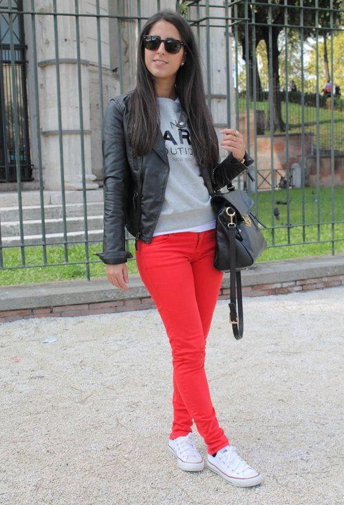 Q2 Sport Chic Pantalon Rojo Mujer Ropa De Moda Outfit Pantalon Rojo