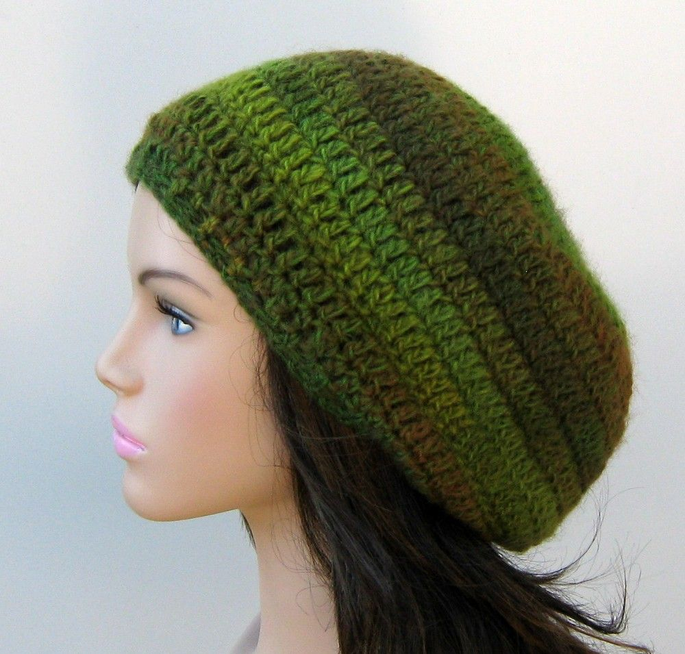 green color way wool blend tam hat, light weight and soft, available at Purple Sage Designz, $ 24, free shipping USA/Canada