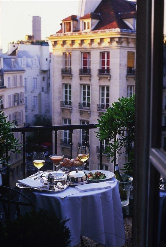 what a romantic balcony dinner Hotel Le Relais Saint Germain, Paris, France