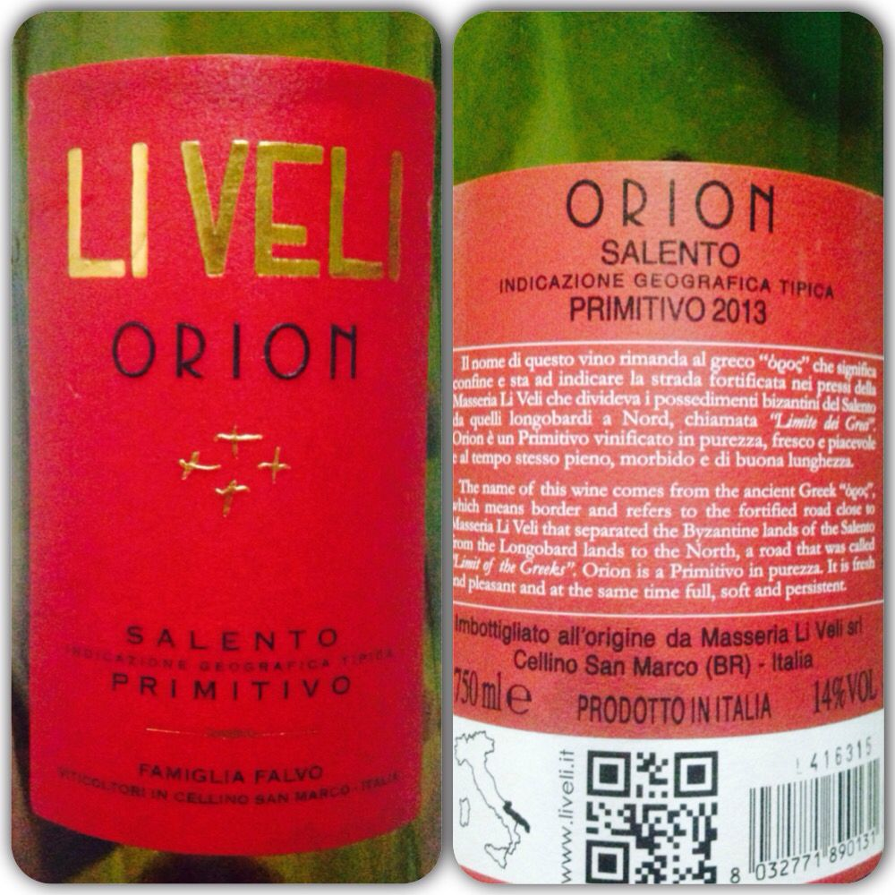 Orion 2013 Italian Red Wine Primitivo Grape Mid Body Dark Red Long Oaky Finish Wine Bottle Wines Bottle