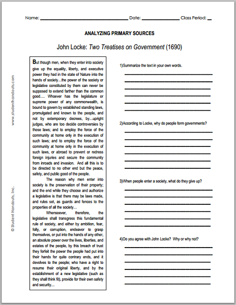 john locke enlightenment two treatises on government primary source worksheet for grades 9. Black Bedroom Furniture Sets. Home Design Ideas