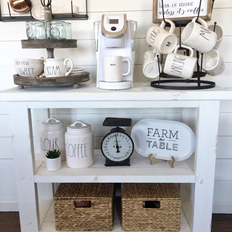 Diy Coffee Bar Table With Images Diy Coffee Bar Table Apartment Decorating For Couples Farmhouse Coffee Bar