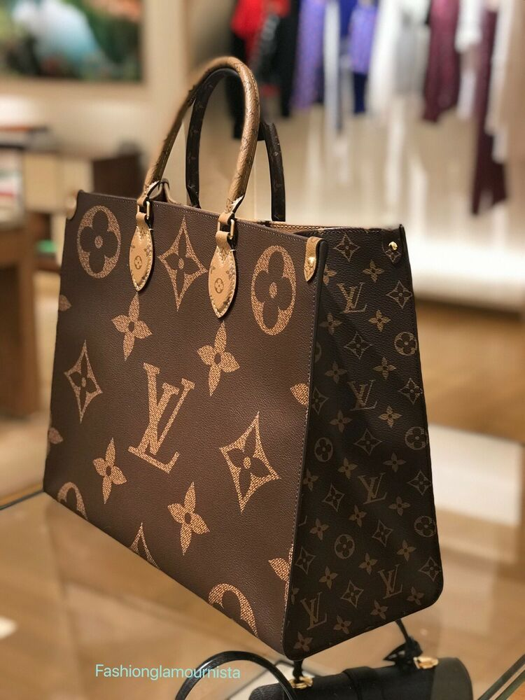 Auth New Louis Vuitton Giant ONTHEGO Monogram Reverse Neverfull 2019 #louisvuittonhandbags
