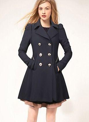 50201371 Polyester Beige Black Dark Blue Long Long Sleeve Collar Coats & Jackets  (1715127683)