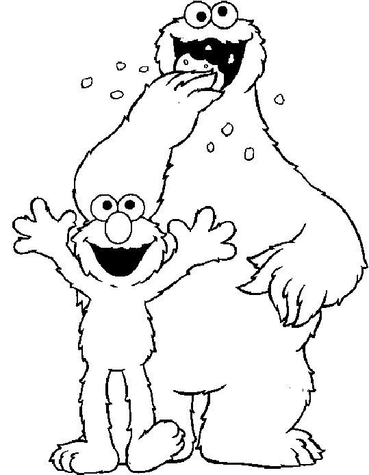 cookie monster and elmo coloring pages coloring Pages