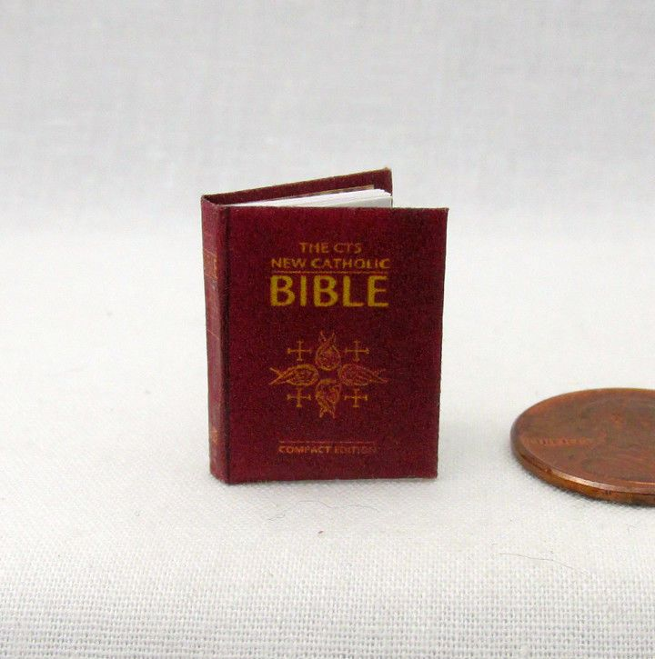 CATHOLIC BIBLE Readable Miniature Dollhouse Book 1:12 Scale 1Inch Scale Book