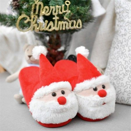5a4bc16bdb0 Cozy Christmas Santa Plush Slippers Memory Foam Non Slip Cotton Warm Soft  House Slippers for Kids   Adults