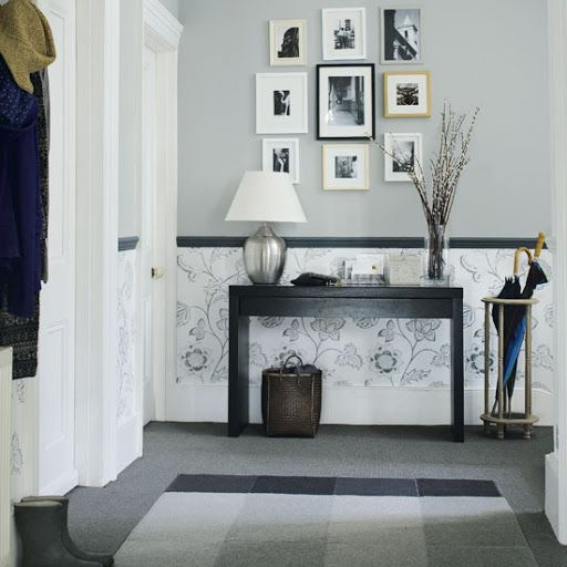 Hallway Idea Decorating Display Pictures Black White Chic Charming Wallpaper  Paint Color Scheme Modern Chic Entryway Inspiration Simple Functional Space   ...