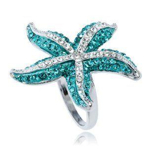 Amazon com: Swarovski blue Crystal starfish WGP Fashion