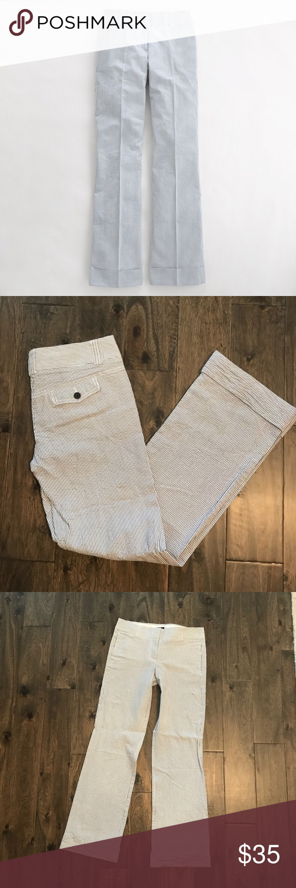 J. Crew Factory City Fit Cuffed Seersucker Pants Like new- never worn. Very light and comfy fabric. 100% cotton. Smoke free home. J. Crew Factory Pants Trousers