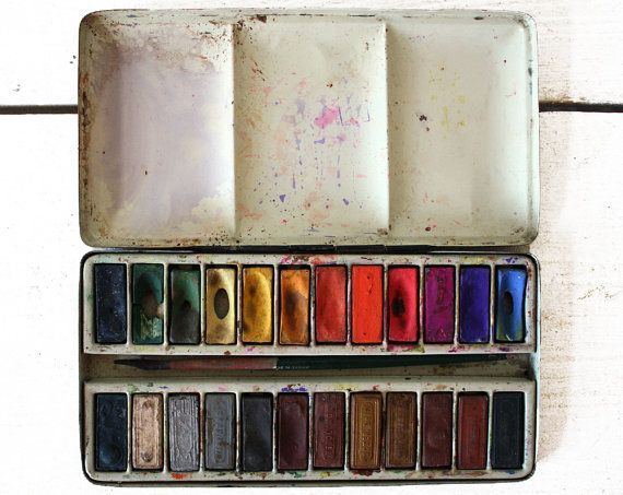 Antique French Gouache Seche Aquarelle Paint Box 1920 French