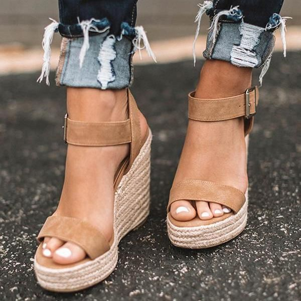 2037a9f1f8d Women Elegant Adjustable Buckle Espadrille Wedges Sandals in 2019 ...