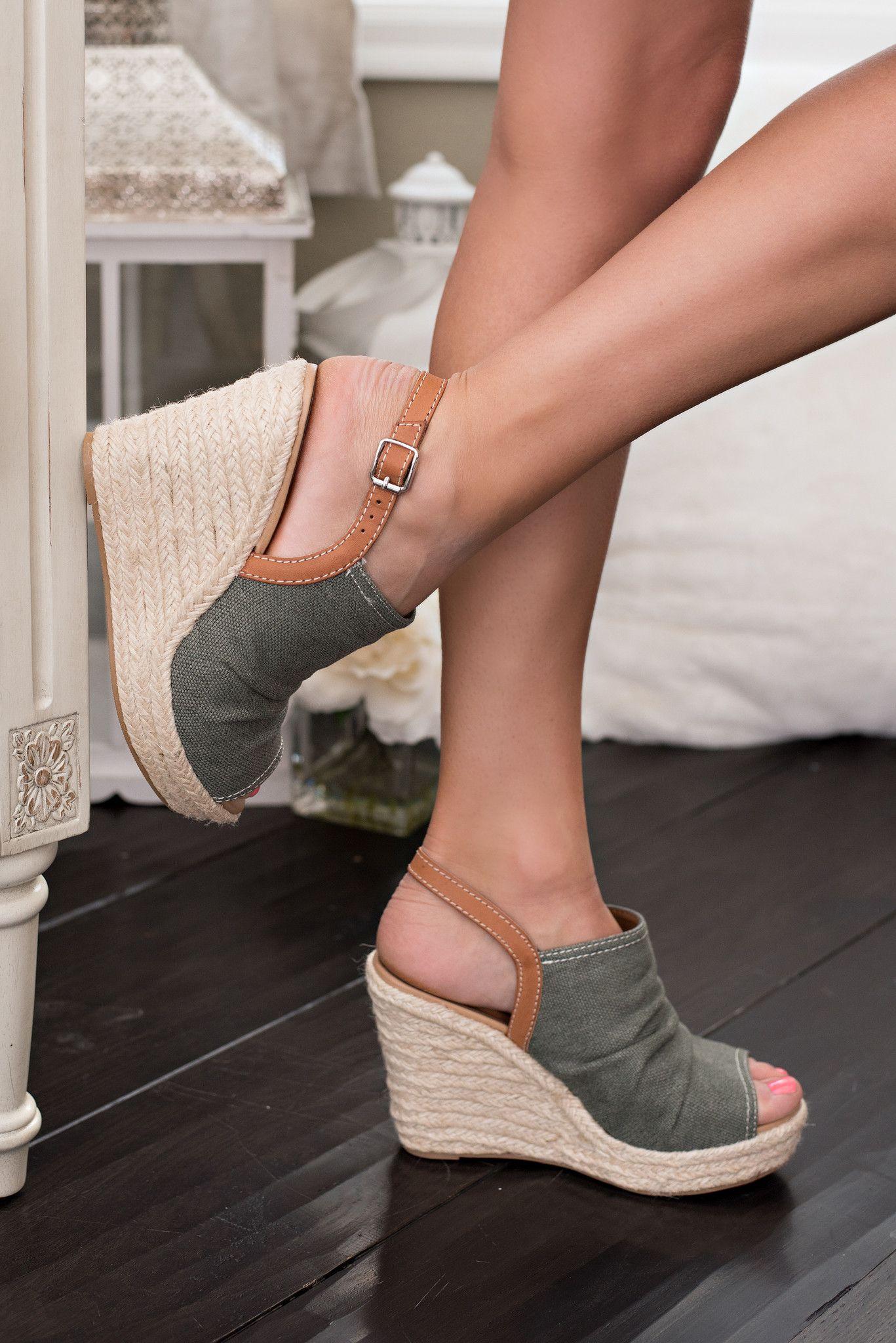 Cali Ann Denim Twine Detail Wedges (Khaki)