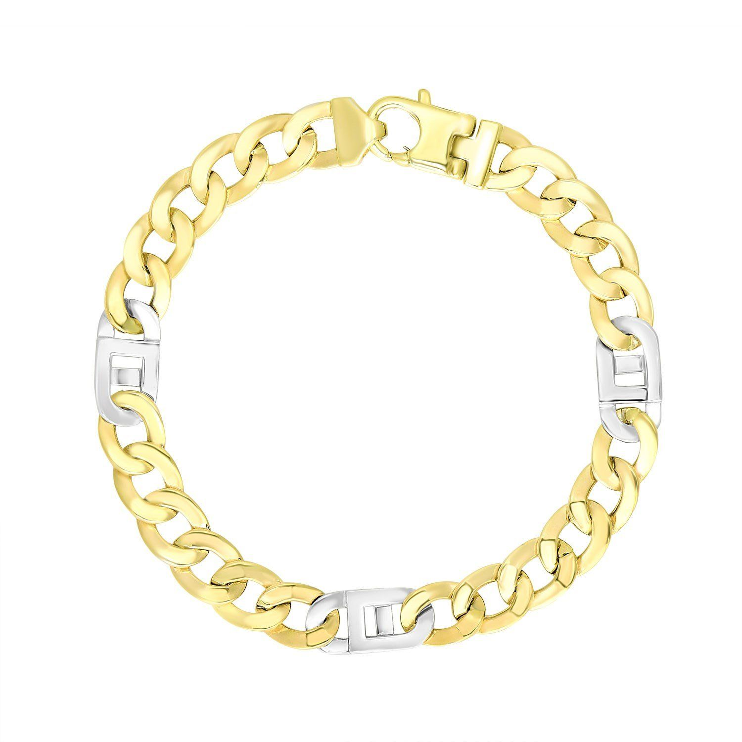 K twotone gold menus bracelet with curb design chain gold chain