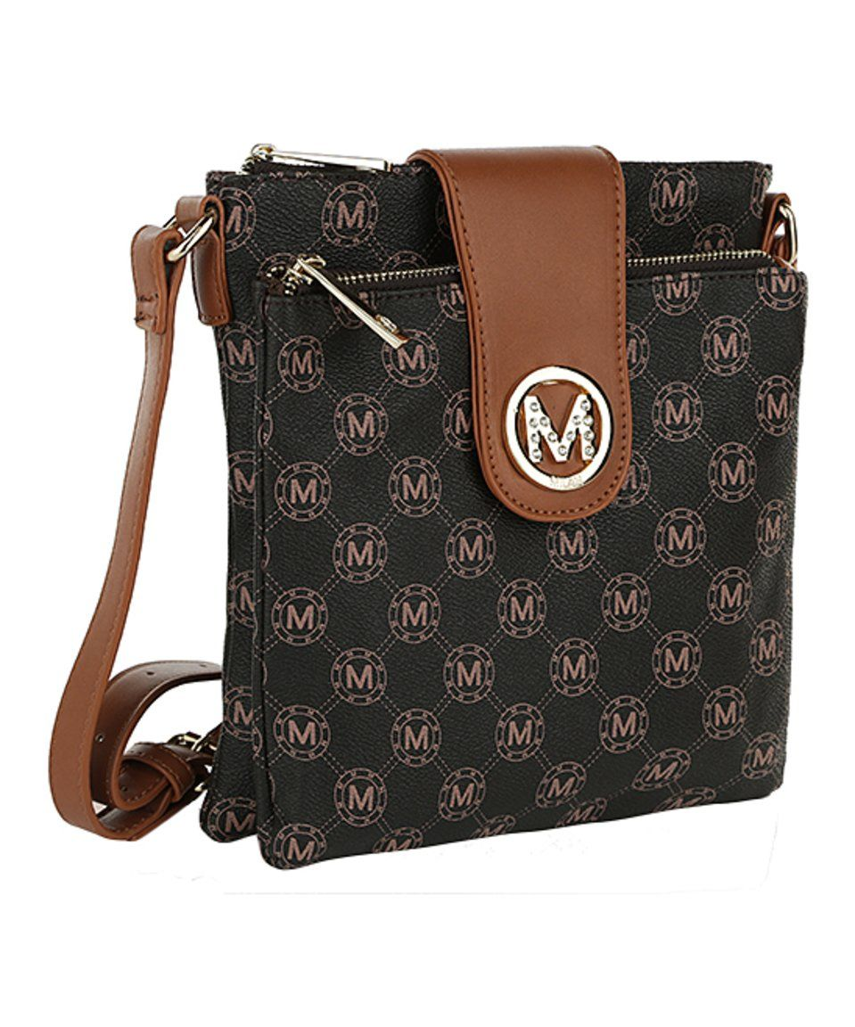 Loving this MKF Collection | Brown Logo Crossbody Bag on #zulily! #zulilyfinds