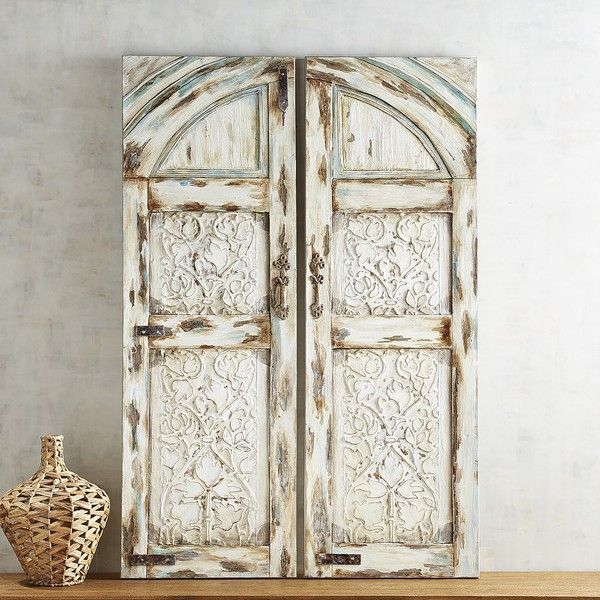 Pier 1 Imports Parisian Doors Art White (250 AUD) ❤ liked on Polyvore featuring home, home decor, wall art, door wall art, pier 1 imports, parisian wall art, white home decor and painted wall art