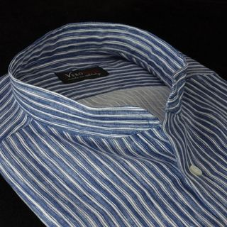 Linen band collar shirt with blue stripes - summer 2013 Neronote, customizable